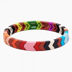 Rainbow Chevron Enamel Tile Stretch Bracelet