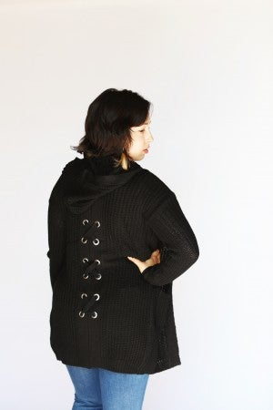 Corset Back Hooded Cardigan with Pockets