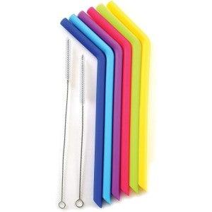 JUMBO Rainbow Silicone Straws - 6 pack w/Cleaning Brushes