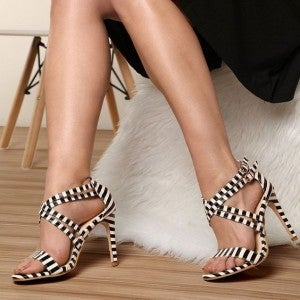 Chic Stripes - Buckle Strap High Heel Shoes