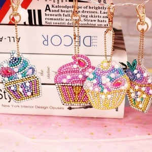 DIY Cupcake Keyring Diamond Painting - 4 Pack!