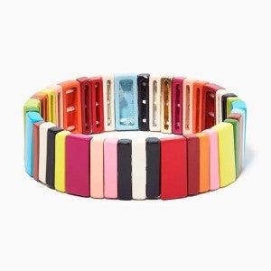 Skinny Rainbow Rectangles Enamel Tile Stretch Bracelet