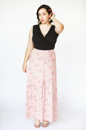 Dusty Rose Floral Button-Down Slit Maxi Skirt