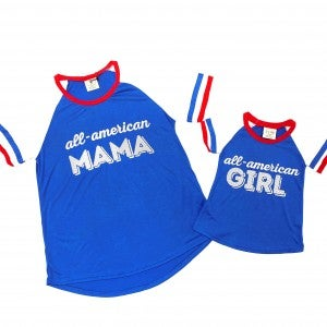 Mommy + Me All American Double Ringer Tee