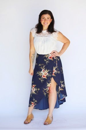 High-Split Navy Floral True Wrap Skirt