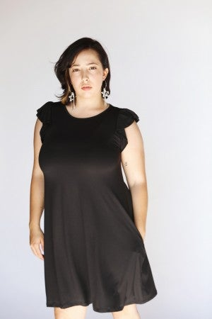 Black Essential Ruffle Tank Swing Dress w/Pockets