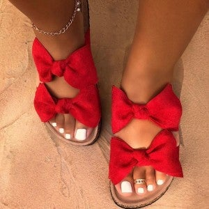 Ruby Red Double Bow Flat Sandals
