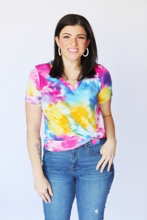 Rainbow Tie-Dye Slinky V-Neck Top