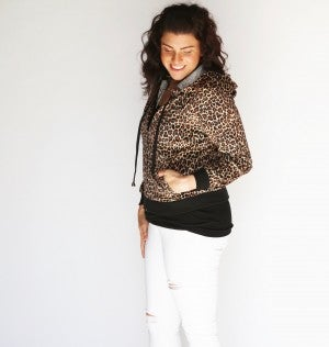 Leopard Lightweight Zip-Up Hoodie Bomber Jacket