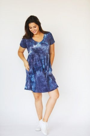 Blue Short Sleeve Scoop Tie-Dye Babydoll Dress with Pockets