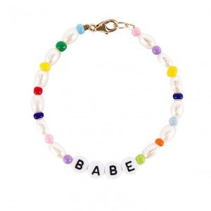 Babe LetterBead Natural Freshwater Pearl Adjustable Bracelet