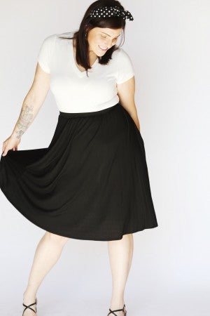 Black Just-Above-the-Knee Swing Skirt with Pockets
