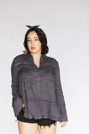 Gypsy Soul - Gray Embellished Bell-Sleeve Button-Up
