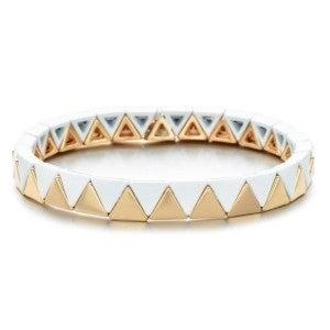 White & Gold Enamel Tile Stretch Bracelet