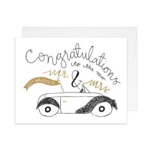 Newlywed Getaway Car Letterpress Card