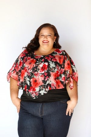 Curvy Layered Drape Cold-Shoulder Floral Top