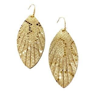 Eden - Gold Python Leather Earrings