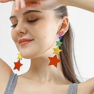 Rainbow Star Acrylic Drop Earrings