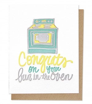 Bun In the Oven - Letterpress Card