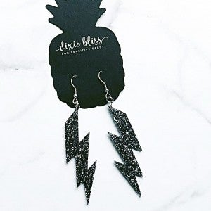 Lightning Bolt - Black Glitter - Earrings