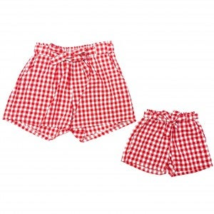 Mommy + Me Red Gingham Ruffle Shorts with Waist Tie