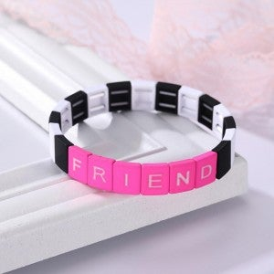 Friend Black White and Hot Pink Tile Stretch Bracelet
