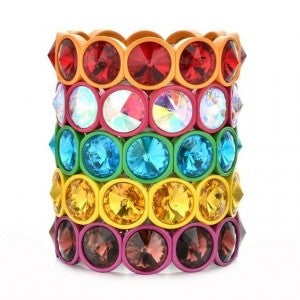 Big Round Crystal & Enamel Stretch Stacking Bracelet