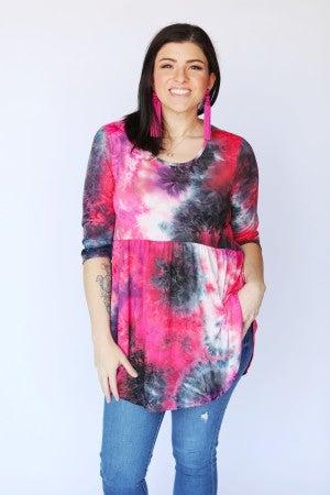 3/4 Sleeve Pink & BlackTie-Dye Babydoll Top