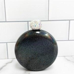 Black Glitter Hip Flask