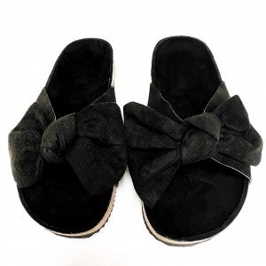 Suede Bow Sandals - Black