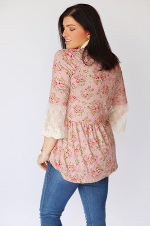 Dusty Rose Floral Lace Sleeve Button Down Peplum Top