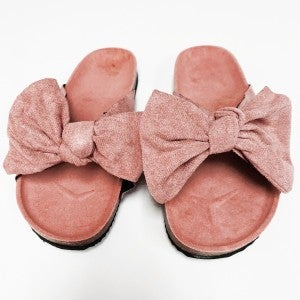 Suede Bow Sandals - Rose