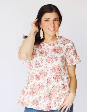 Ivory Floral Ruffle Sleeve Tiered Ruffle Top