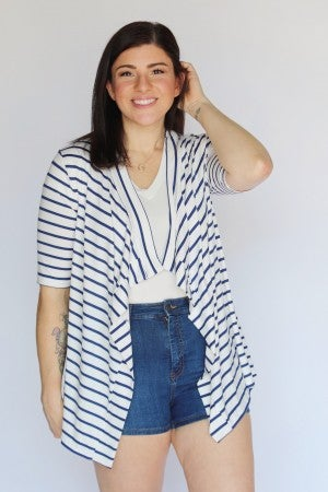 Navy Stripe Elbow Sleeve Open Drape Cardigan