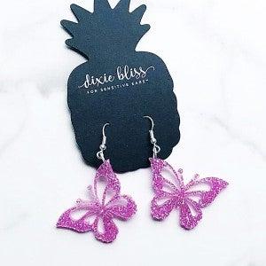 Glitter Butterflies - Pink - Earrings