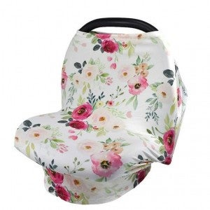 White Floral - Nursing/Carseat Cover