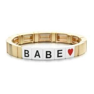 Babe Enamel Tile Stretch Bracelet