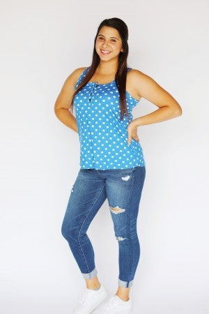 Blue Polka Dot Relaxed Fit Button Top Tank