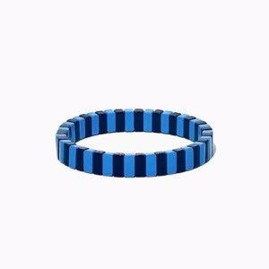 Black and Blue Enamel Tile Stretch Bracelet