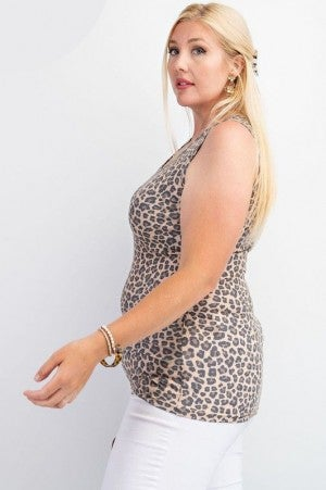 Curvy Leopard Rayon Ribbed Tank Top