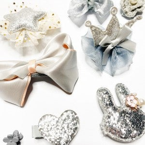 Silver Sparkle - 10 Pack of Girls Hair Clips