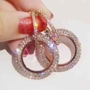 Rose Gold Shimmering Dangle Drop Earrings
