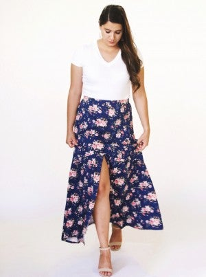 Navy Floral Button-Down Slit Maxi Skirt