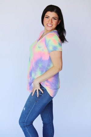 Purple Lime Tie-Dye French Terry V-Neck Top