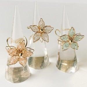 Crsytal Flower Rings