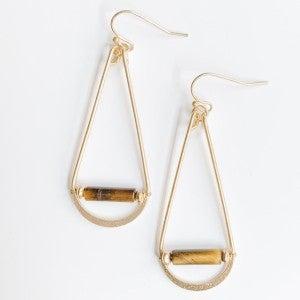 Gold Tear Drops with Acrylic Bar Dangles