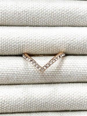 White Sparkle Gold Ring