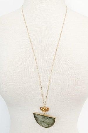 Half Circle Long Stone Necklace