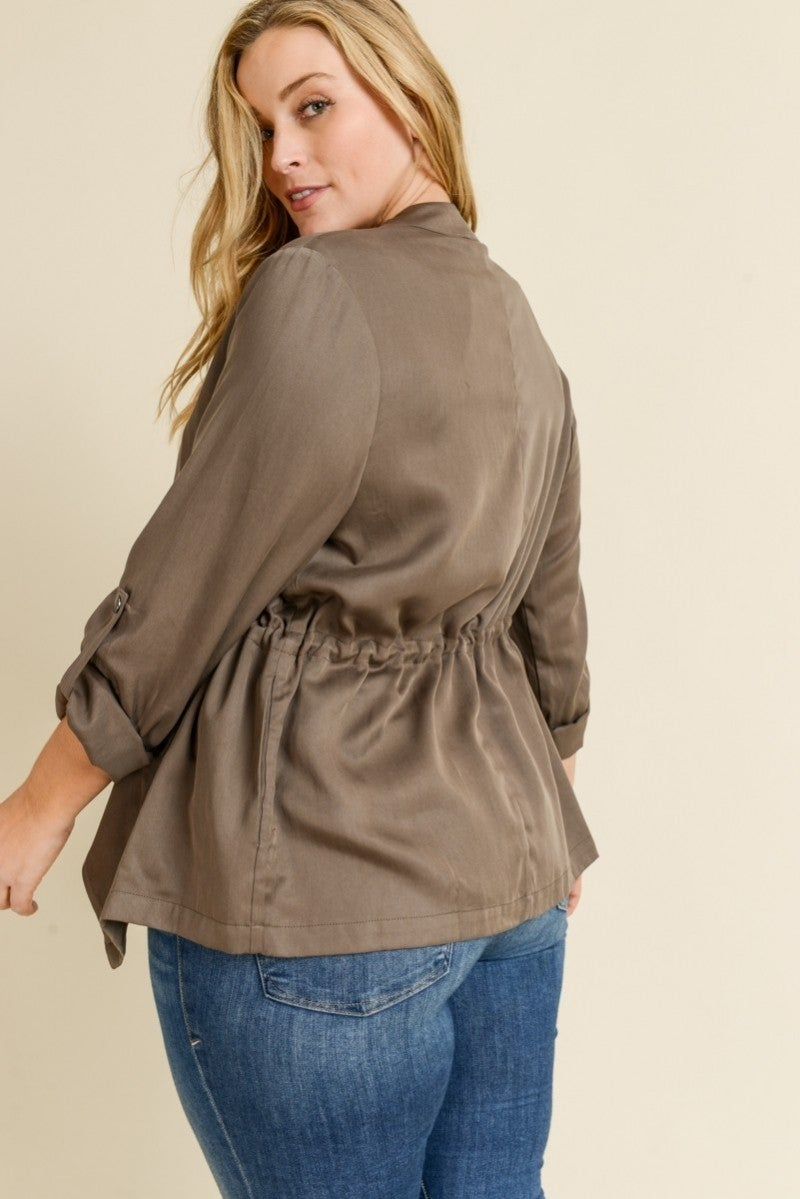 Plus size waterfall drawstring tencel jacket