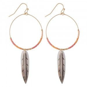 Beaded Feather Hoops